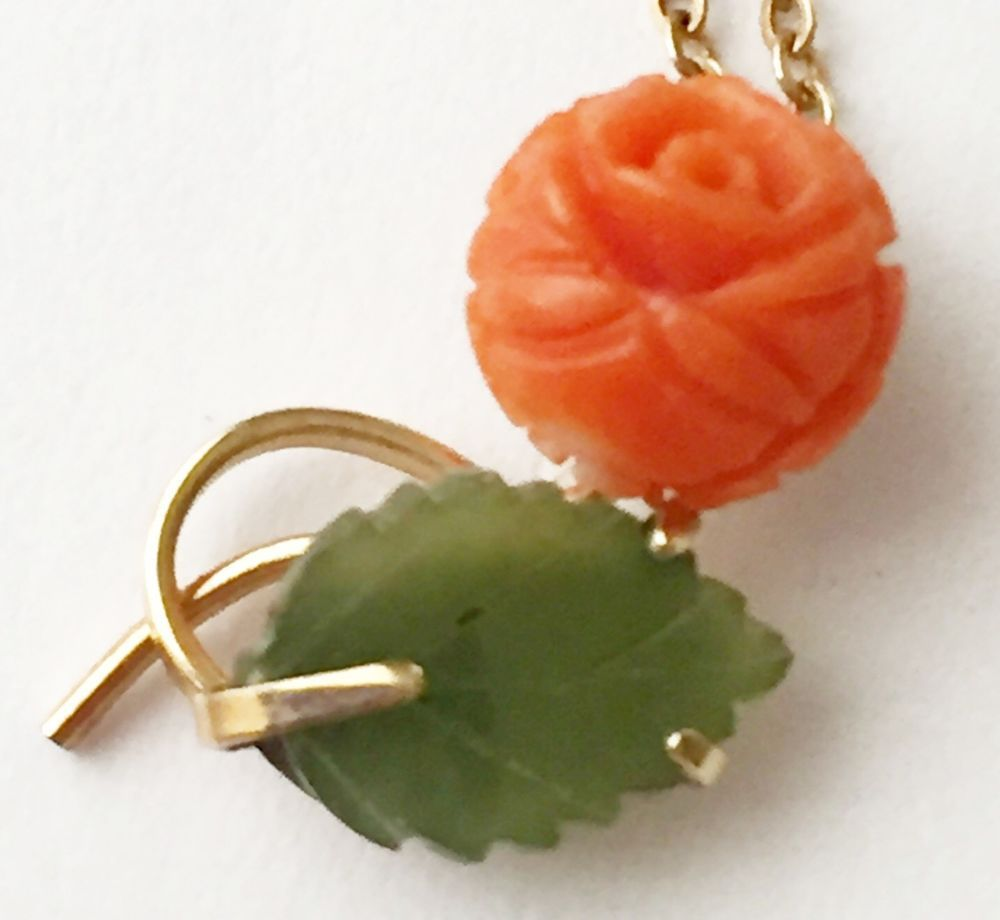 Genuine Carved Coral Jade Rose Pendant Necklace  #krementz