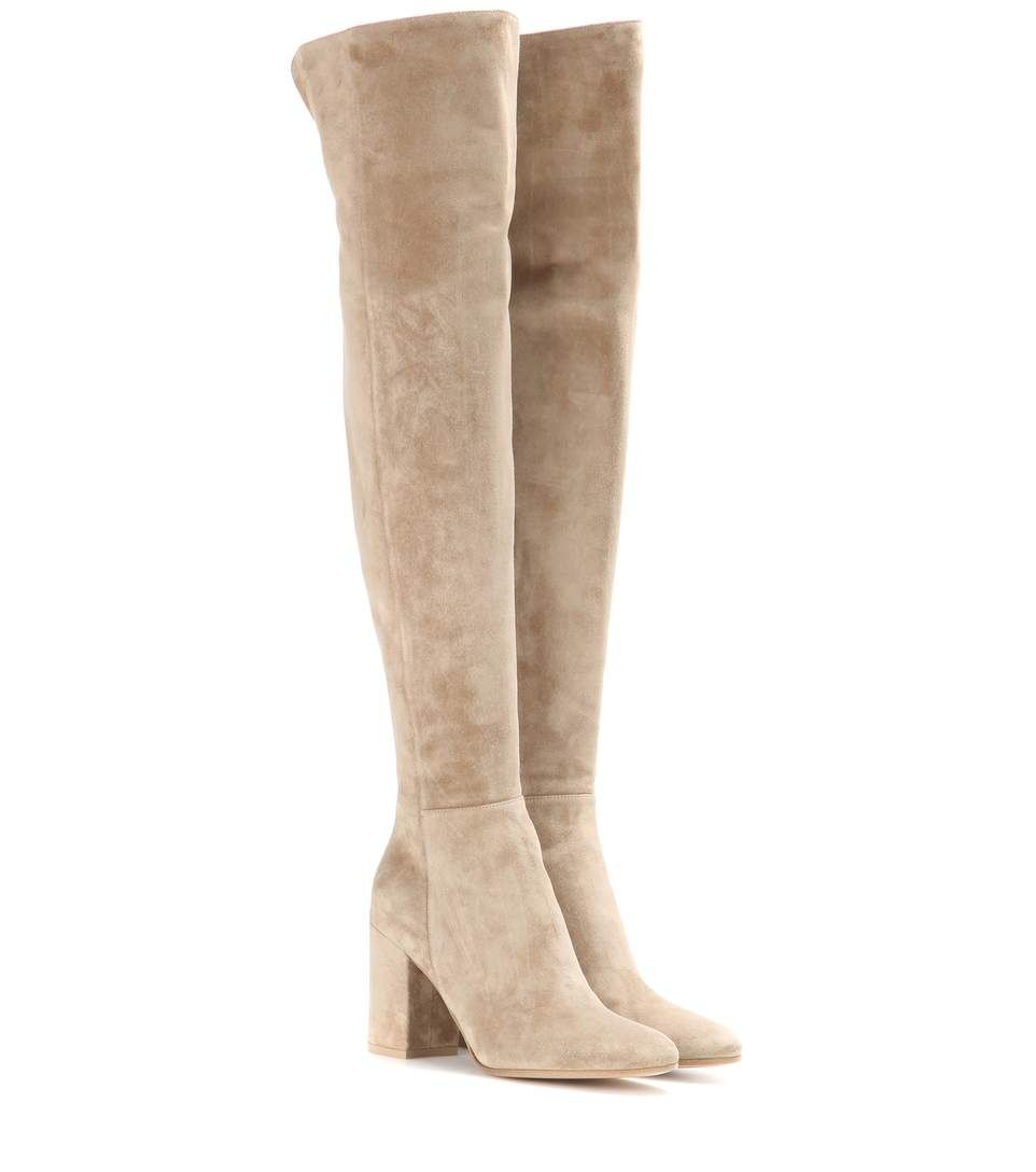 Stone beige suede over-the-knee boots