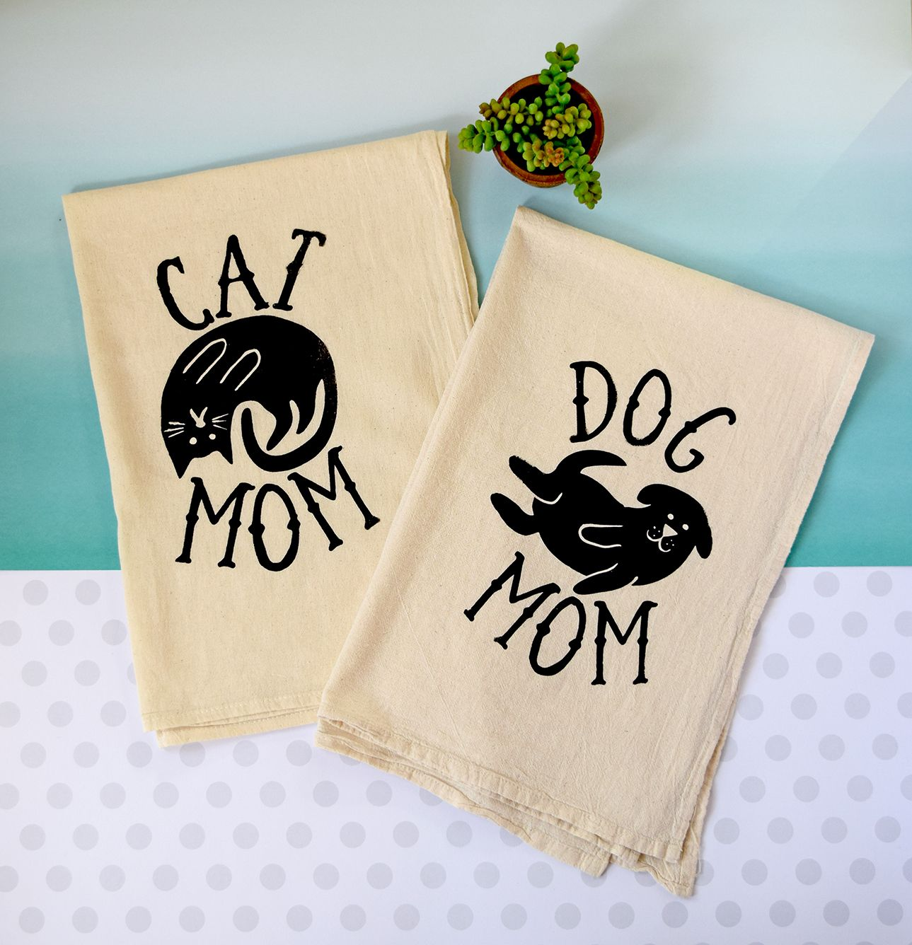 New Cat Mom & Dog Mom screen printed tea towel. These make