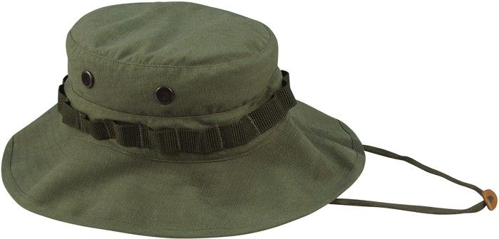 Olive Drab Vintage Vietnam Military Rip-Stop Wide Brim Boonie Hat in ... 09ca9e0e898