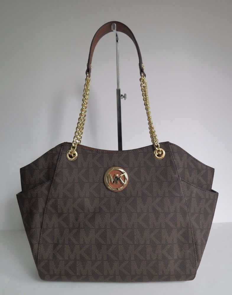 e07566c9b3db4 Michael Kors Signature Print Large Jet Set Travel Chain Tote Shoulder Bag  Brown  MichaelKors  ShoulderBag