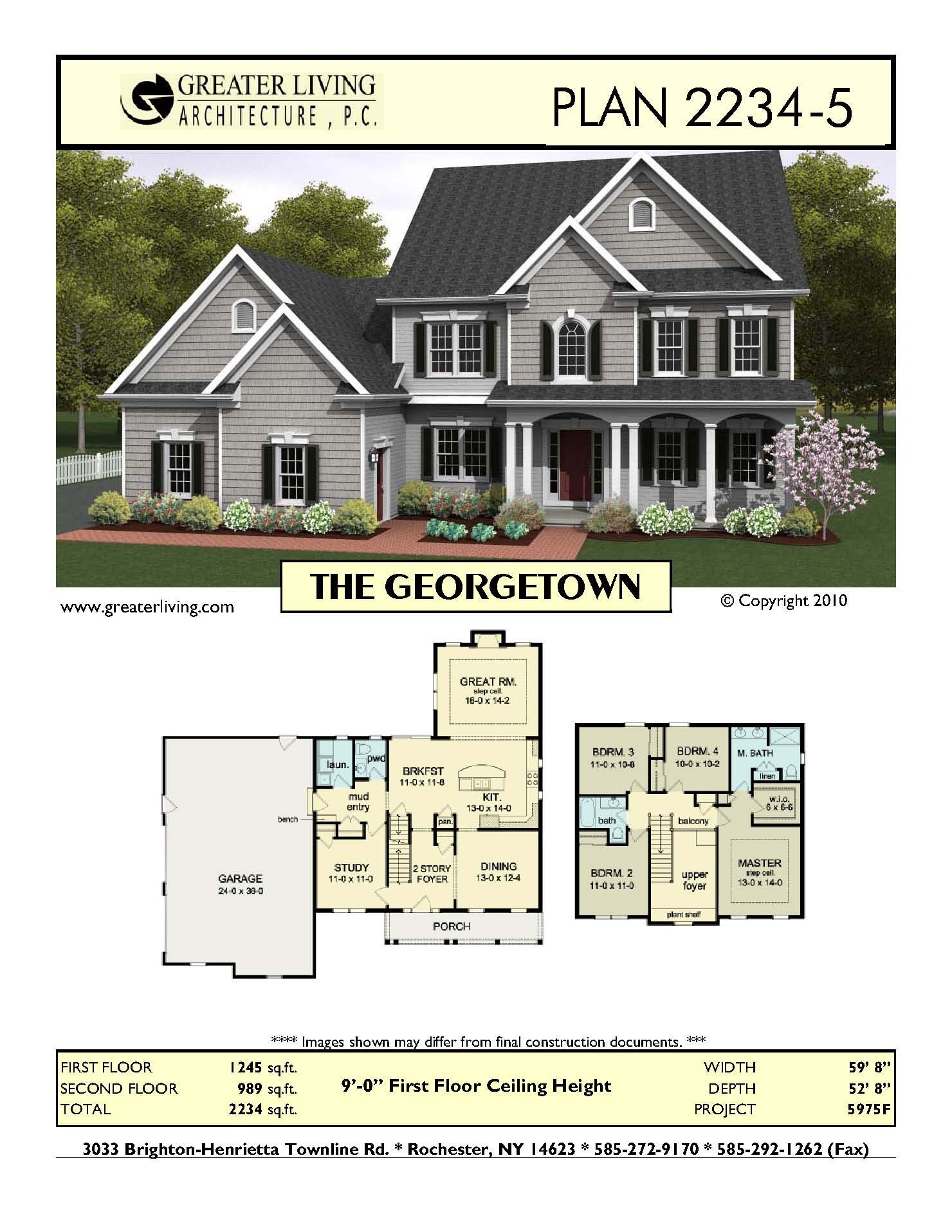 Plan 2234-5: THE GEORGETOWN - if the upstairs bedrooms were slightly ...