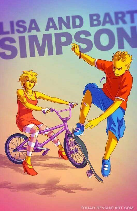 Lisa and Bart Simpson