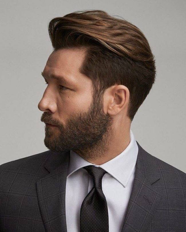 Golden Brown With Neat Clipped Sides Hair Cut For Men Hair