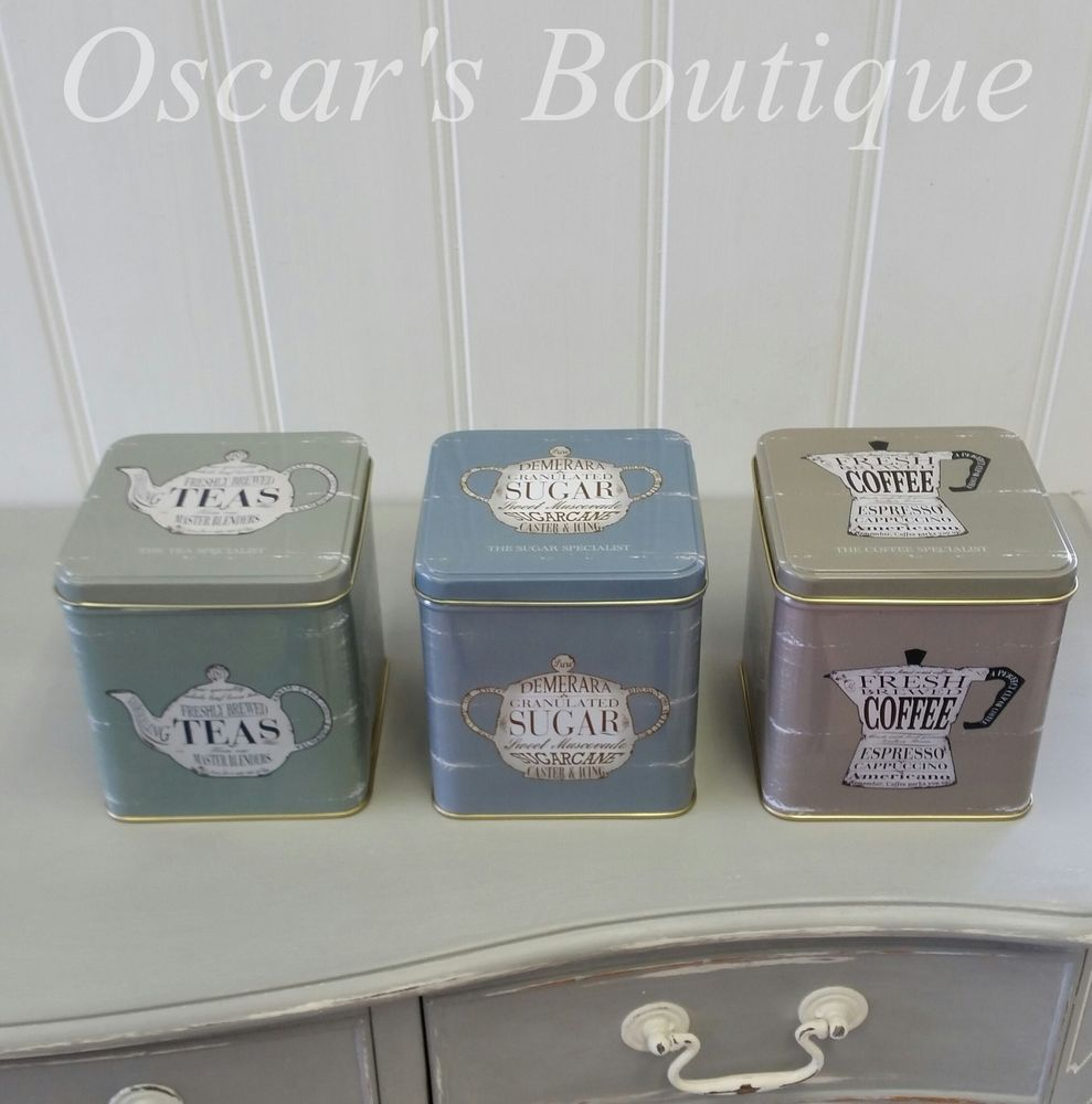 Set Of Blue Grey Green Vintage Retro Tea Coffee Sugar Tin Storage Canister  Jars