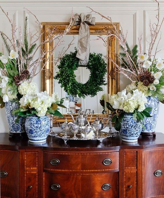 """Photo of Elizabeth on Instagram: """"Holiday time is the perfect time to make things a little bit fancier and sparklier! Love how this sideboard has been decorated with…"""""""