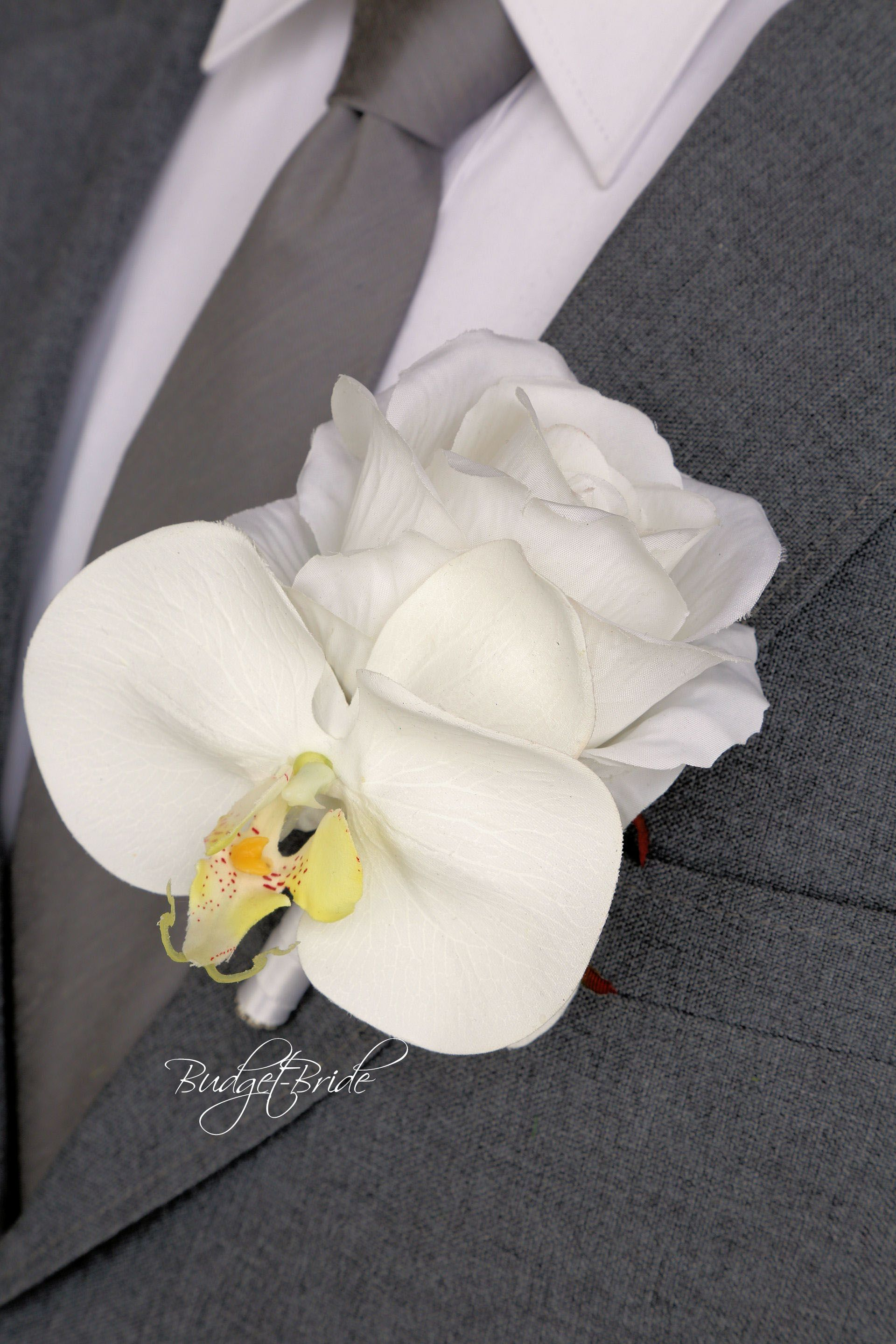 Orchid Davids Bridal Mens Lapel Flower With White Rose And White