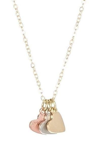 Tri tone triple heart pendant necklace i like it pinterest tri tone triple heart pendant necklace aloadofball Images