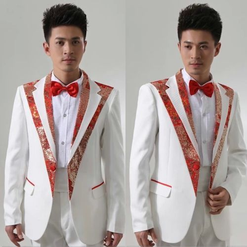 Men White Red Sequin One Button Fitted Wedding Prom Dress Suit SKU-10108012