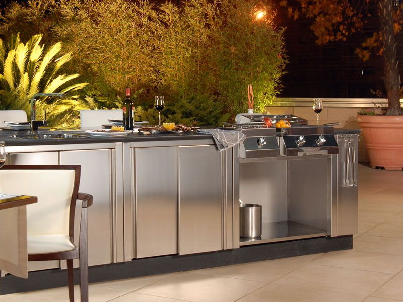 Mesmerizing Outdoor Weatherproof Kitchen Cabinets With Stainless Steel Kitchen Sink And Taps Also Soapstone Countertops With