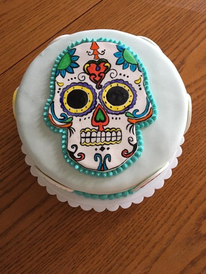 Day Of The Dead Skull Birthday Cake My Cakes Pinterest