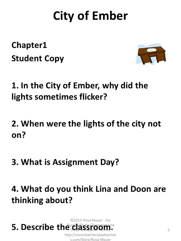 City Of Ember Is The Focus Of This Packet Students Will Enjoy Reading The First Book In This Serie City Of Ember Reading Comprehension Questions Novel Studies