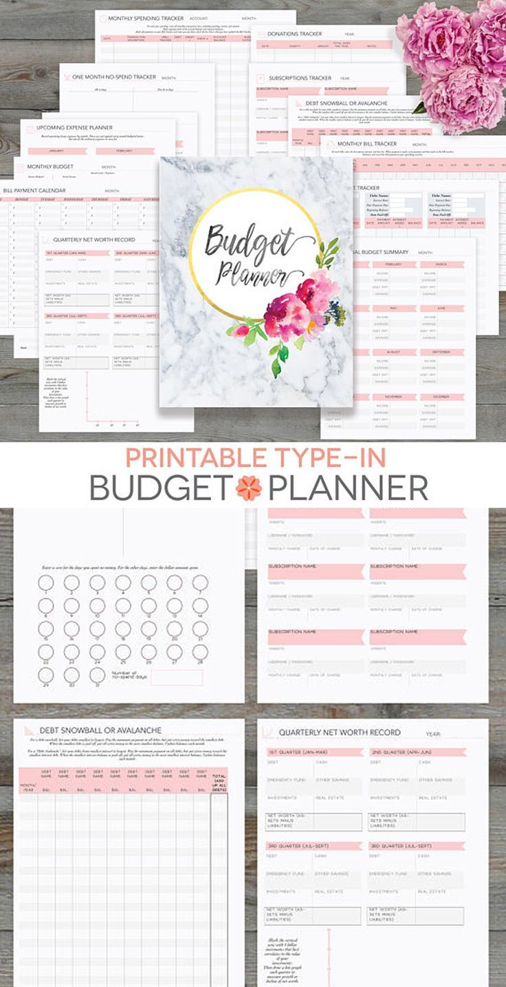 budget planner printable  monthly household budget form  financial planning  family money