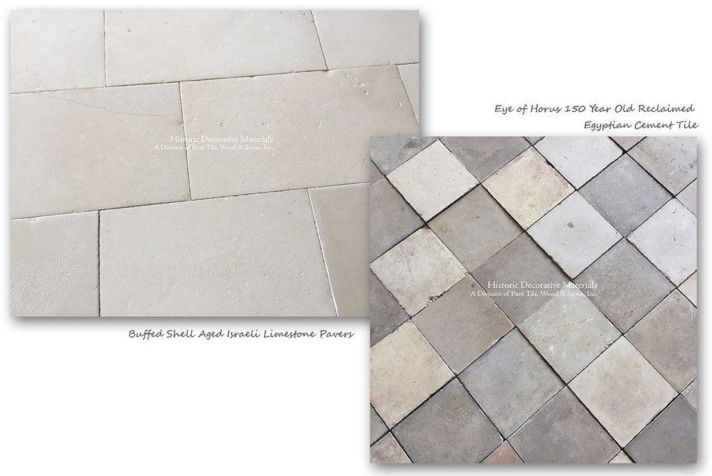 Buffed Shell Aged Israeli Limestone Pavers And Reclaimed Egyptian Cement Tiles Limestone Flooring Flooring Limestone Pavers