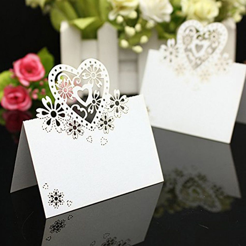 New! 50pcs/lot Cut-out skeleton Love Heart Laser Wedding Party Table ...