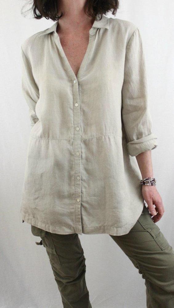 bd4b20216 J Jill Love Linen 100% Linen Long Button Down High Low Tunic Beige Sz M # JJill #Tunic