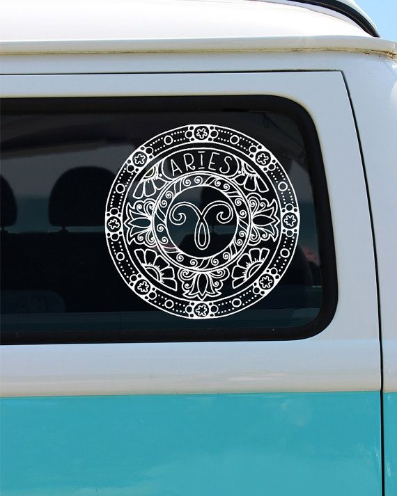 Aries decal zodiac sticker astrological sign aries zodiac decal zodiac car decal decal vinyl decal mandala mandala decal
