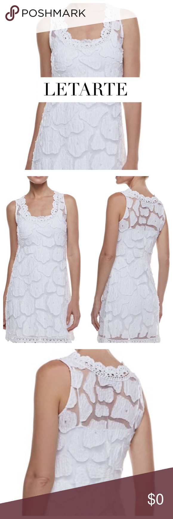 """HP LETARTE White """"Kissing Fish"""" Dress Coverup LETARTE! You can always feel the bohemian island inspiration whenever you wear anything from Letarte. This sleeveless """"kissing fish"""" cover up features a scoop neckline, sleeveless; full shoulder coverage, slim silhouette finished wth a hem that hits at thigh. Size: S  Approx. Measurements: Bust 30"""", Waist: 27"""", Hips: 33"""", Length 34.5"""" Material: 100% Viscose. Sold Out! Condition: Excellent Letarte Swim Coverups"""