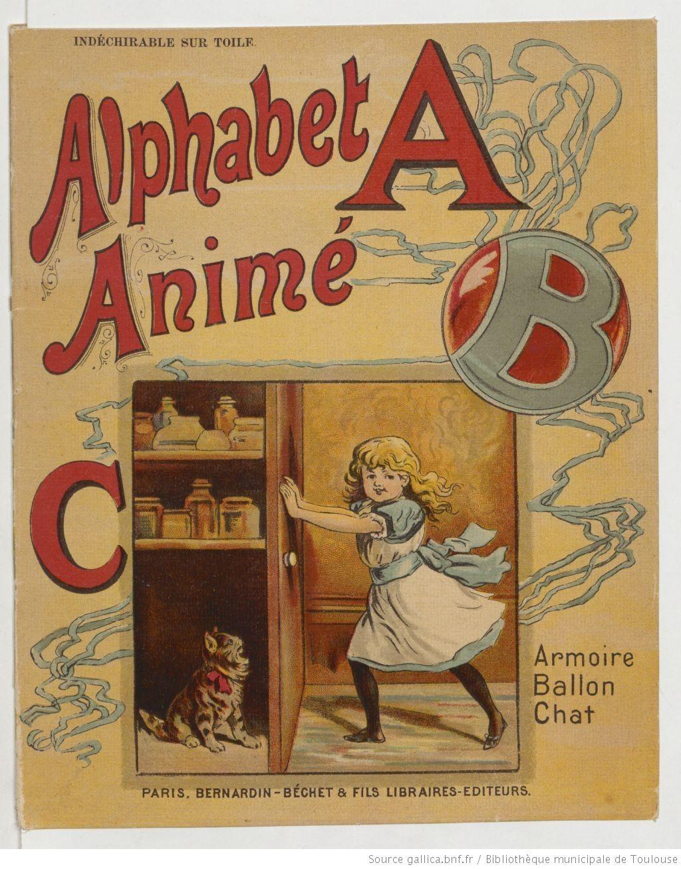 Alphabet Anime Bernardin Bechet Fils 1890s Chat Paris