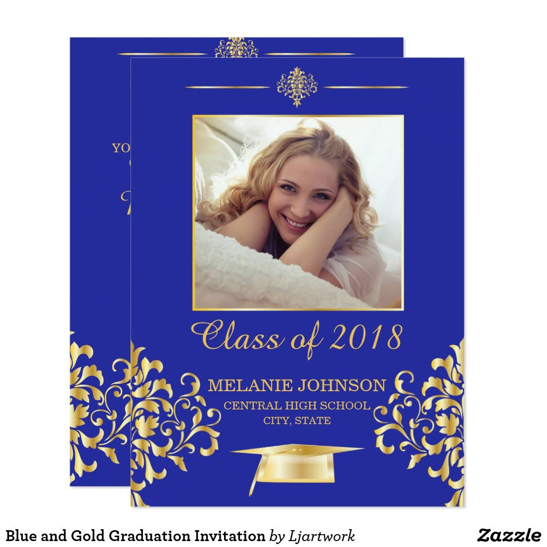 Blue And Gold Graduation Invitation Graduate Photoinvitation Formal Grad Gradparty Party Zazzle