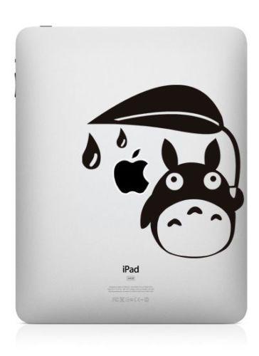 Schwarz Aufkleber Sticker Skin Decal Tattoo für Apple iPad Mein Nachbar Totoro
