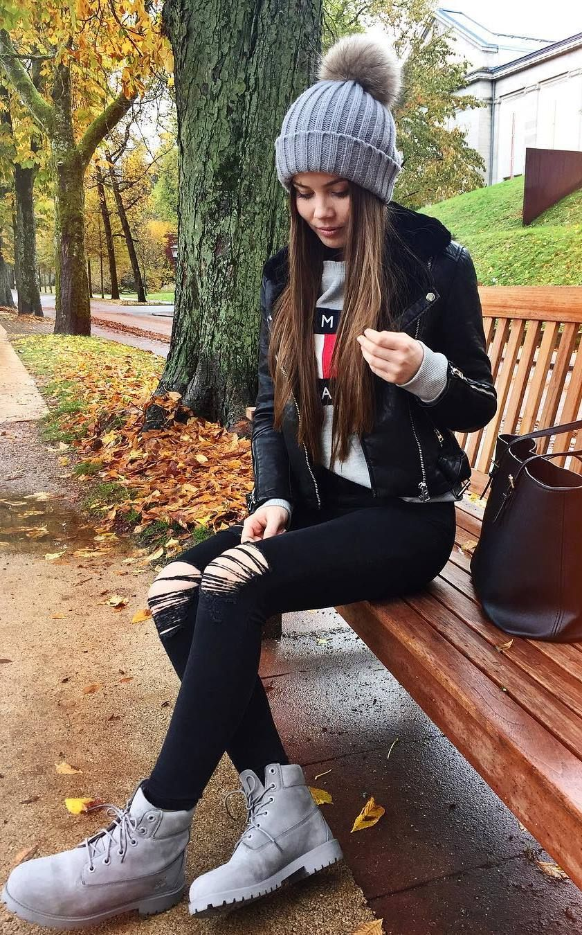 0861ed894 fall fashionable outfit / knit hat + biker jacket + ripped jeans + ...