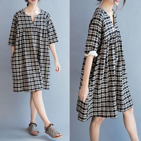 women loose linen Short dress/ by babyangella on Etsy