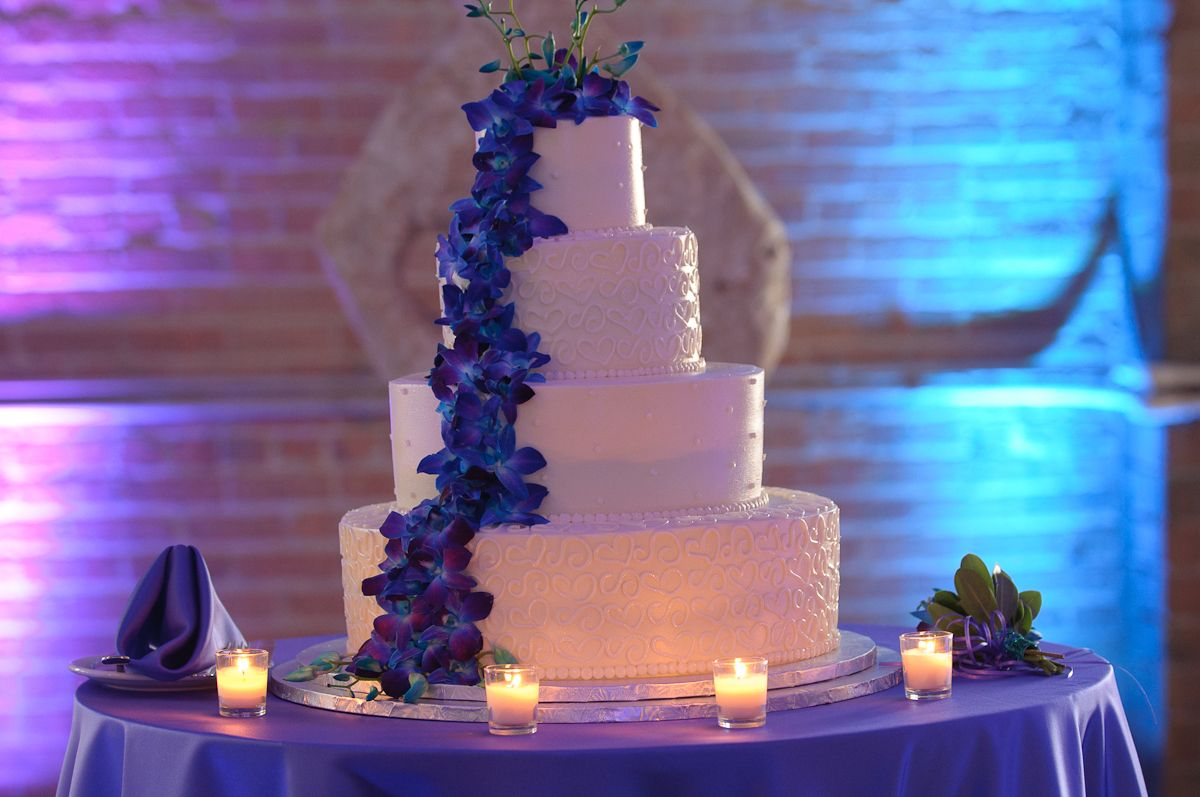 Love this wedding cake with blue orchids wedding ideas for stacey