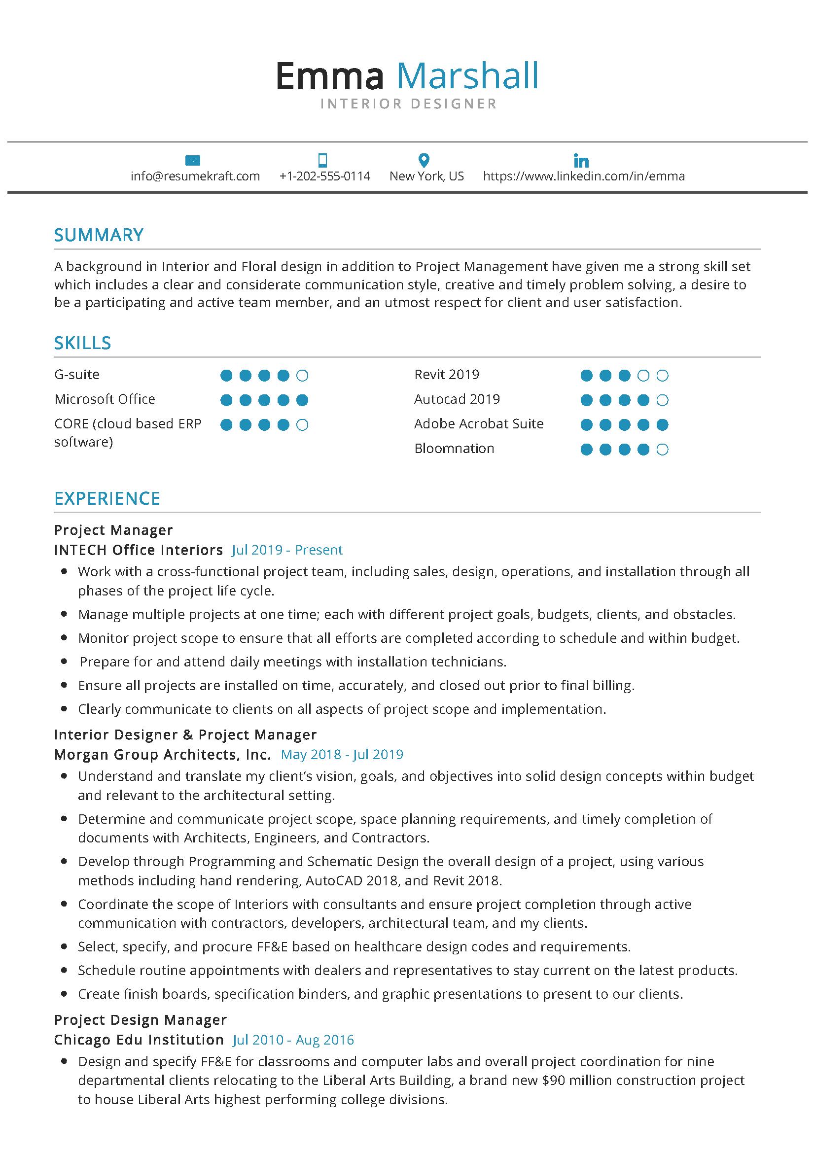 Interior Designer Resume Sample in 2020 Interior design
