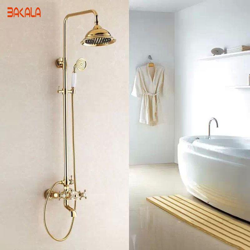 BAKALA Good Quality Solid Brass Luxury Rainfall Golden Shower Bath ...