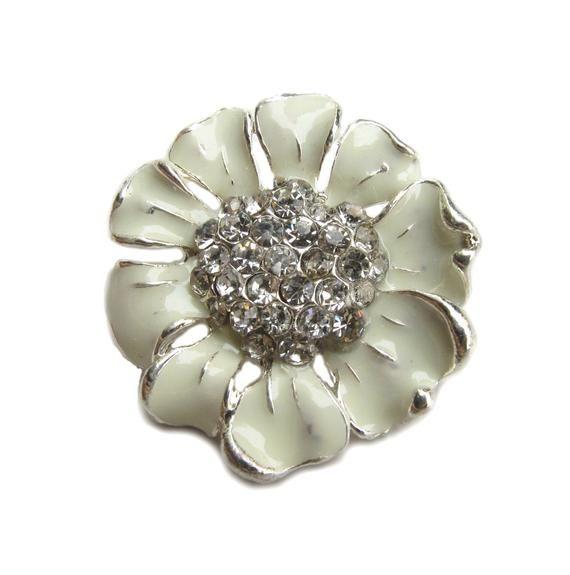 5 Cream Enamel Flower Rhinestone buttons - Wedding Bridemaid Hair Accessories Scrapbooking RB-048C (