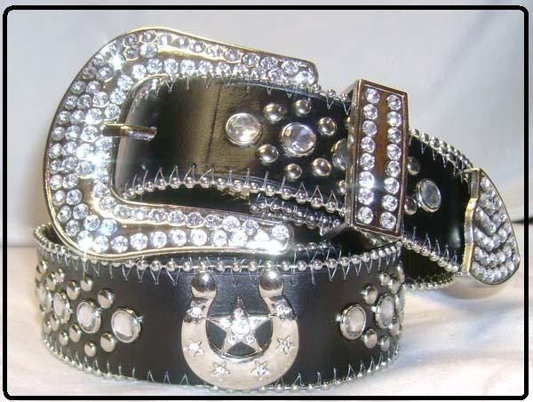 Crystal ~ WESTERN Hipster BELT ~ Rhinstone Leather Nocona Zebra Cross BoHo 81
