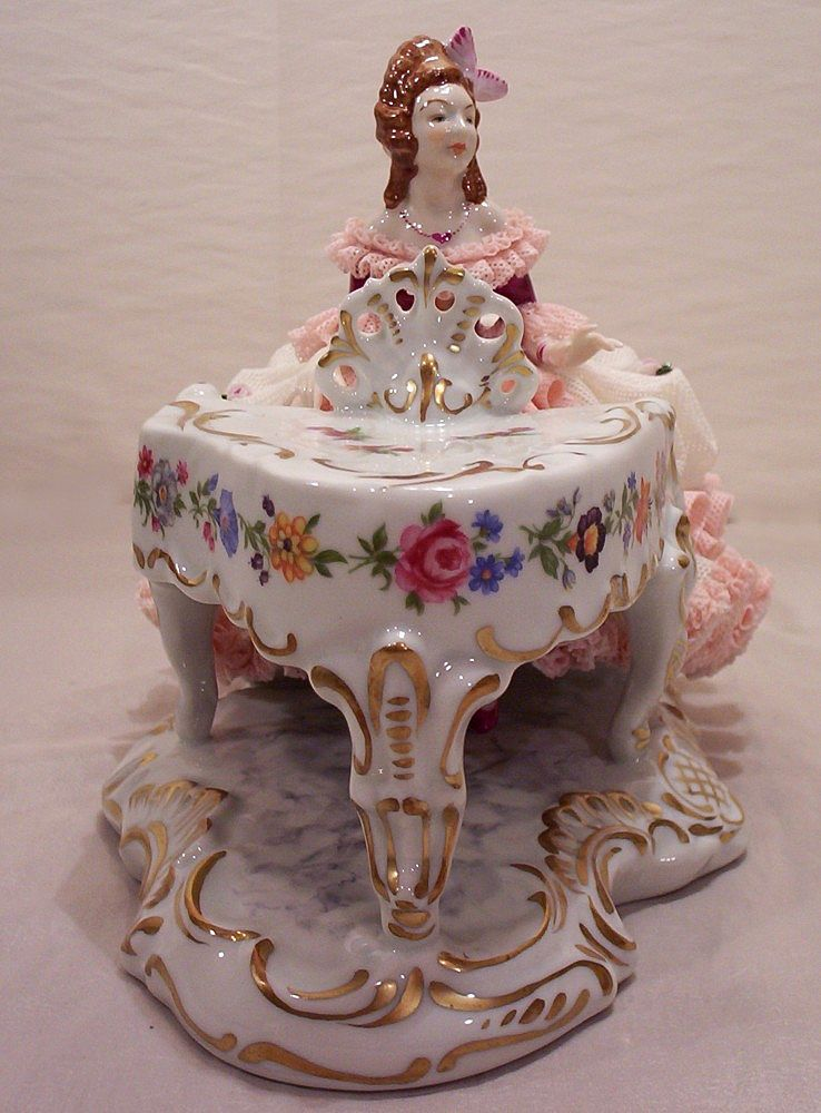 Vintage Dresden Porcelain Figurine Girl Playing Piano