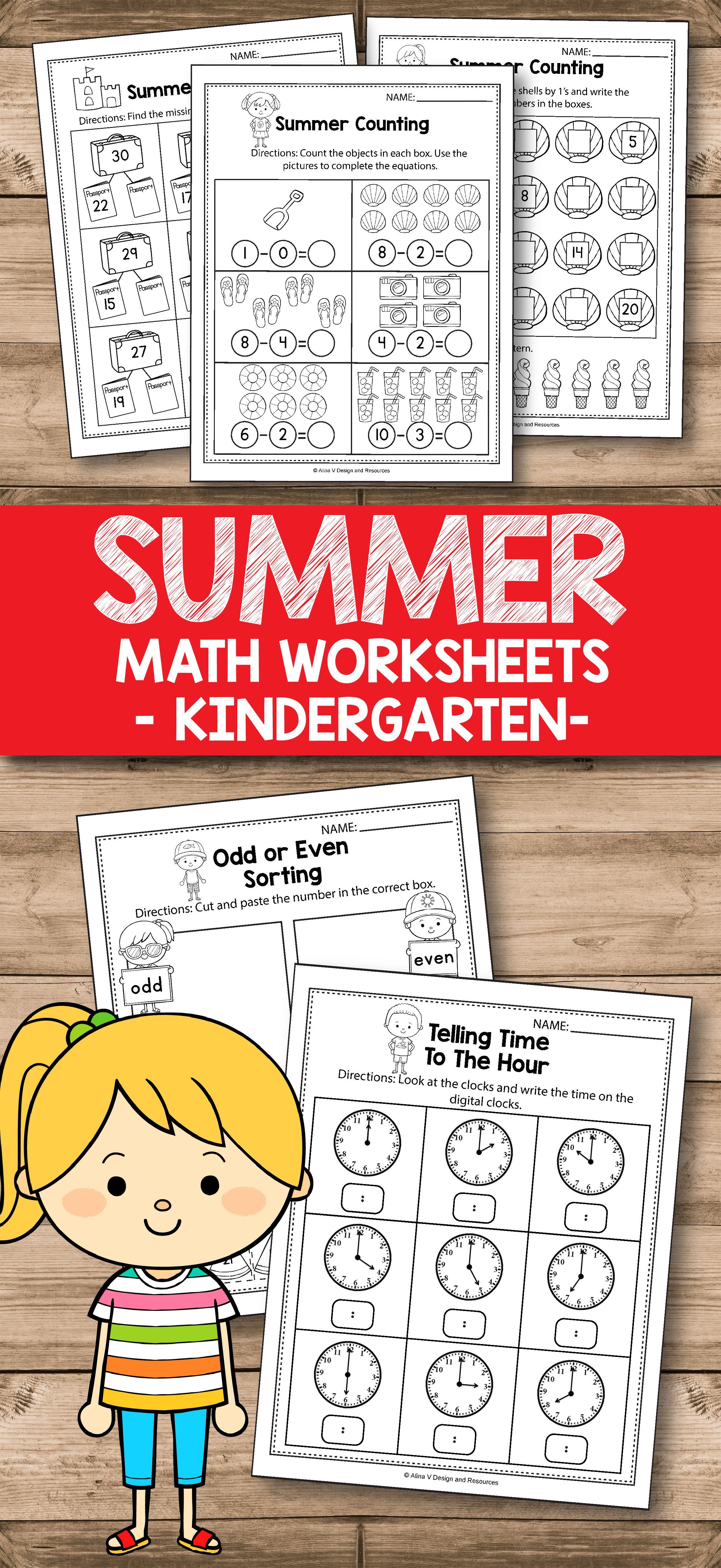 Summer Review Math Worksheets For Preschool Kindergarten