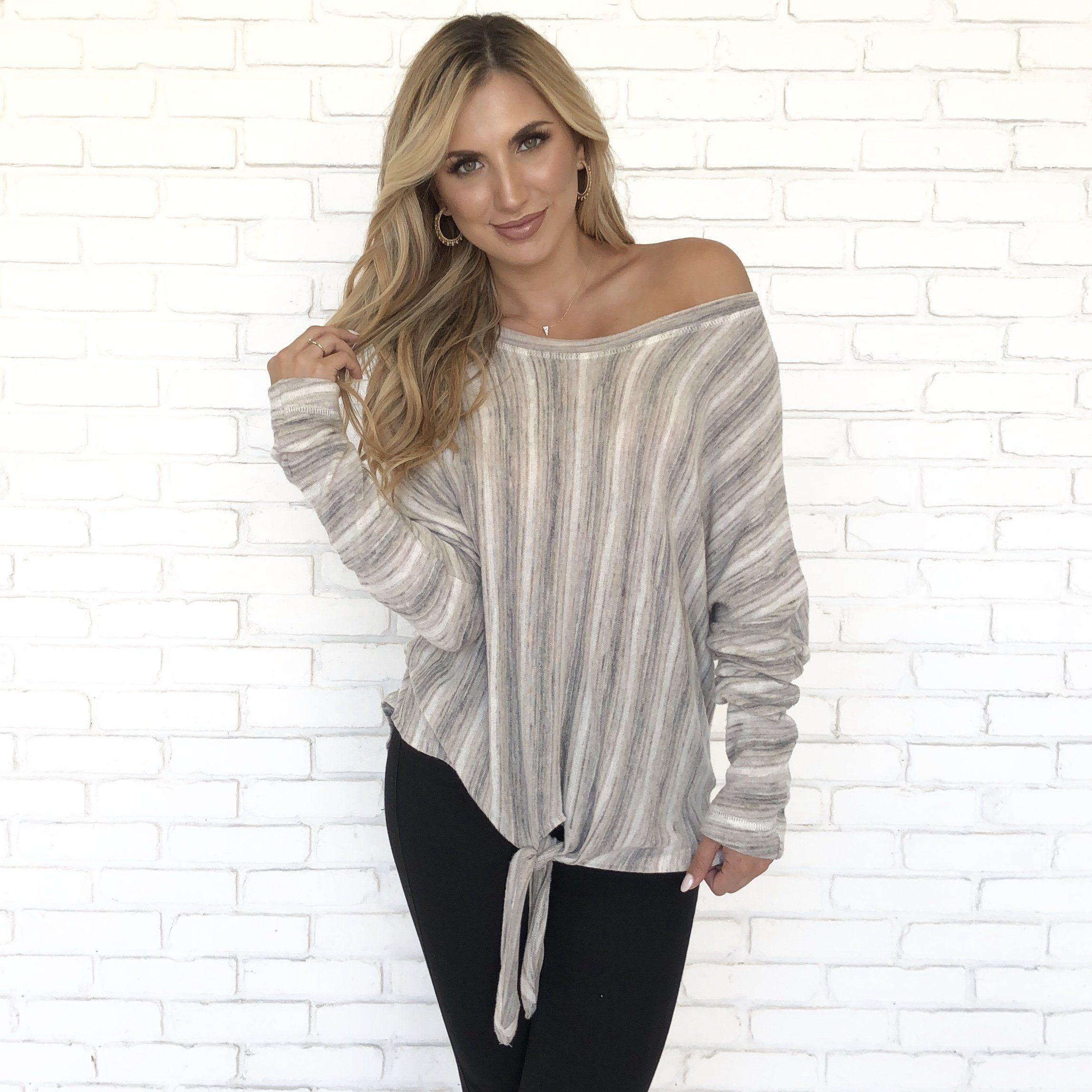 02c577e066babf Earth Tone Stripe Fleece Top - Dainty Hooligan Boutique | Sweater ...