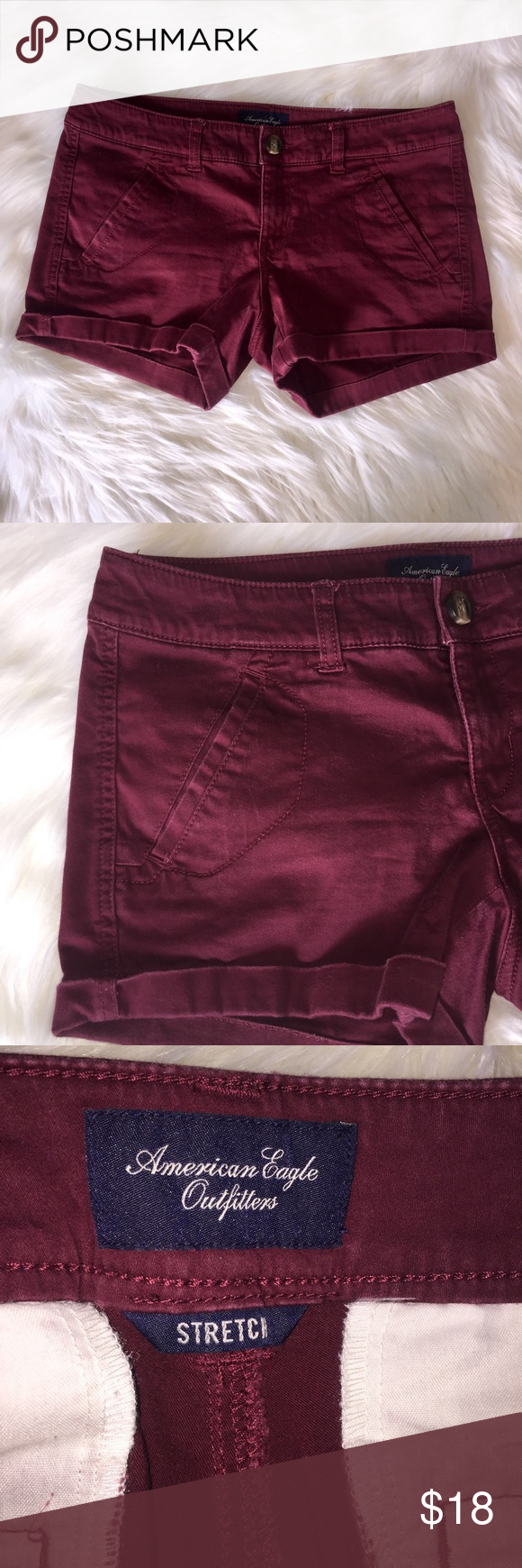 American eagle shorts American eagle stretch burgundy shorts. In great condition! Size 4. 53% cotton, 43% rayon, 3% spandex. American Eagle Outfitters Shorts