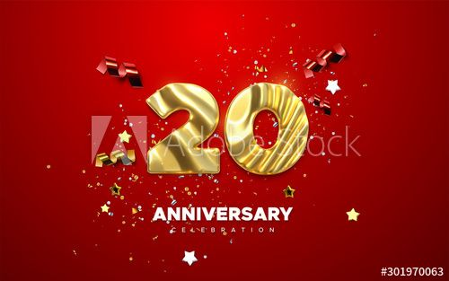 20th Anniversary celebration. Golden number 20 with sparkling confetti, stars, glitters and streamer ribbons. Vector festive illustration. Realistic 3d sign. Birthday or wedding party event decoration - Buy this stock vector and explore similar vectors at Adobe Stock