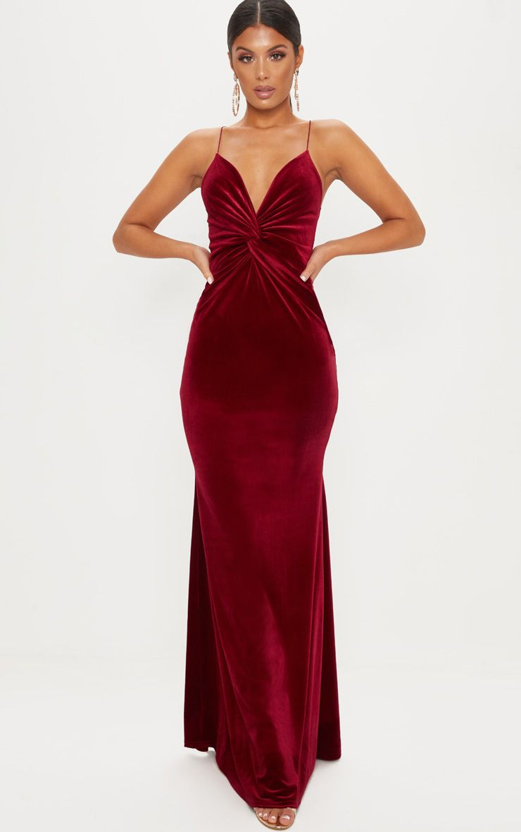 Wine Velvet Knot Front Maxi Dress Formal Dresses For Women Maxi Dress Wine Dress
