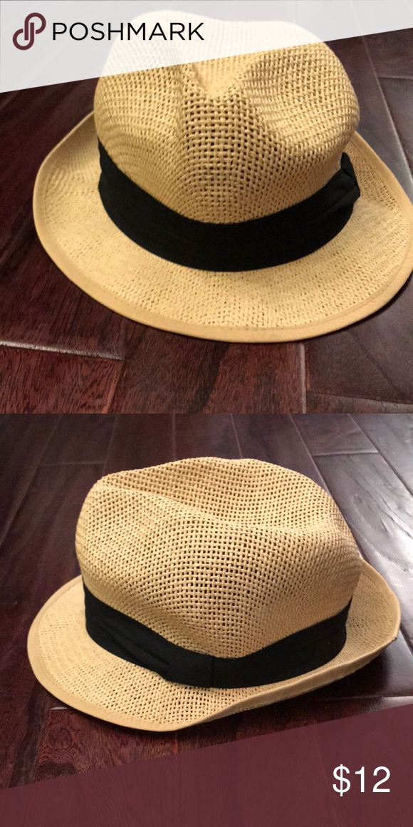 9751b2f4a0029b Straw Hat with Black Band Lightweight fedora style hat with a black band.  Very pliable, may need to be reshaped after shipping Accessories Hats