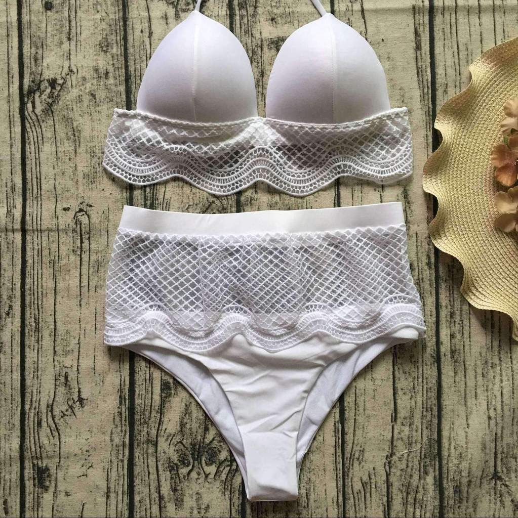 932b430b96159 White Hollow Out Lace High Waist Bikini Set in 2019   Fashion ...