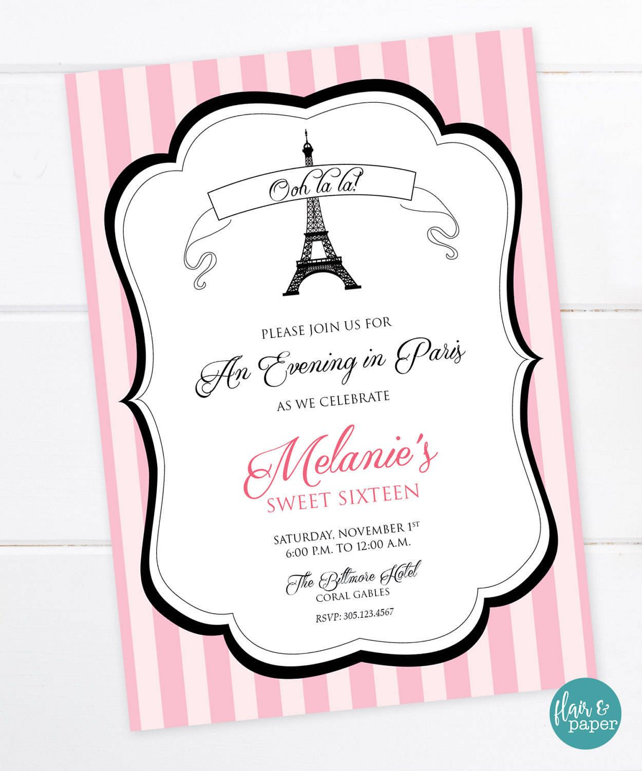 Parisian birthday invitation french party eiffel tower bridal parisian birthday invitation french party eiffel tower bridal shower graduation birthday stopboris Image collections
