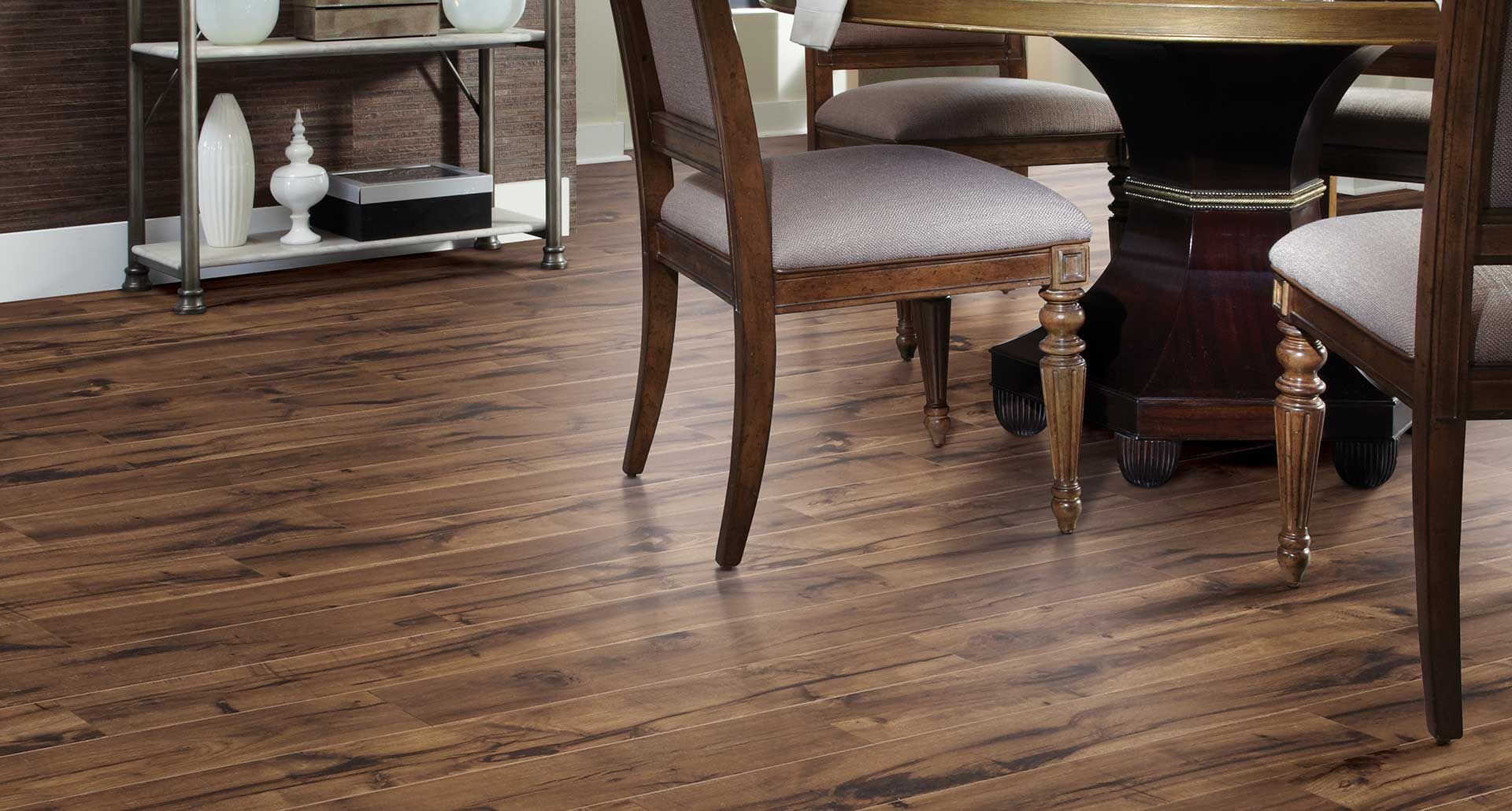 Creekbed Hickory textured laminate floor Brown hickory wood finish