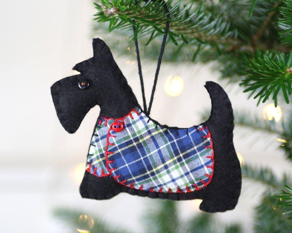 scottie dog christmas ornament angus blue tartan coat - Scottie Dog Christmas Decorations