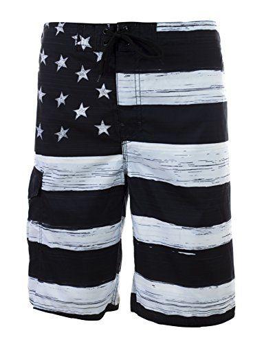 5709d9c93796 Men s American Flag Inspired Board Shorts Large Black White VbrandeD ...