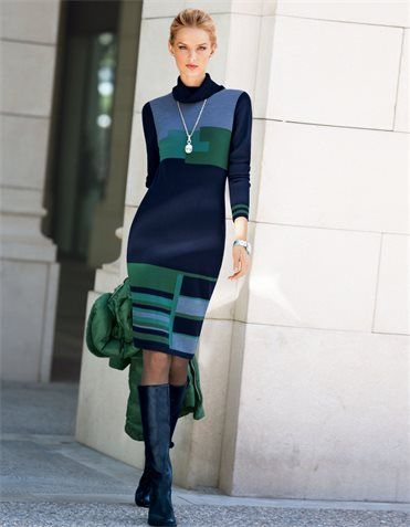 Knitted dress, pure new wool, Boots, Necklace
