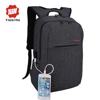 596077f34ff2 2017 Tigernu External USB Charge Backpack Male Mochila Escolar ...