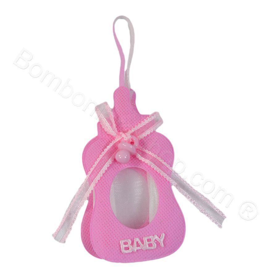 Biberon in stoffa rosa con ciuccio applicato al fiocco #biberon #nascita #bomboniera #bambina