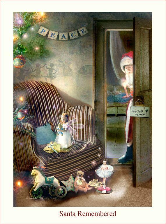 Christmas fairy Print   ' Santa Remembered by CharlotteBirdfairies, $32.00