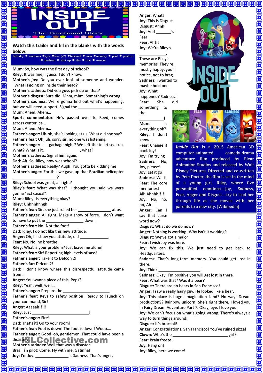 Inside Out Teaching Emotions Social Emotional Learning Lessons