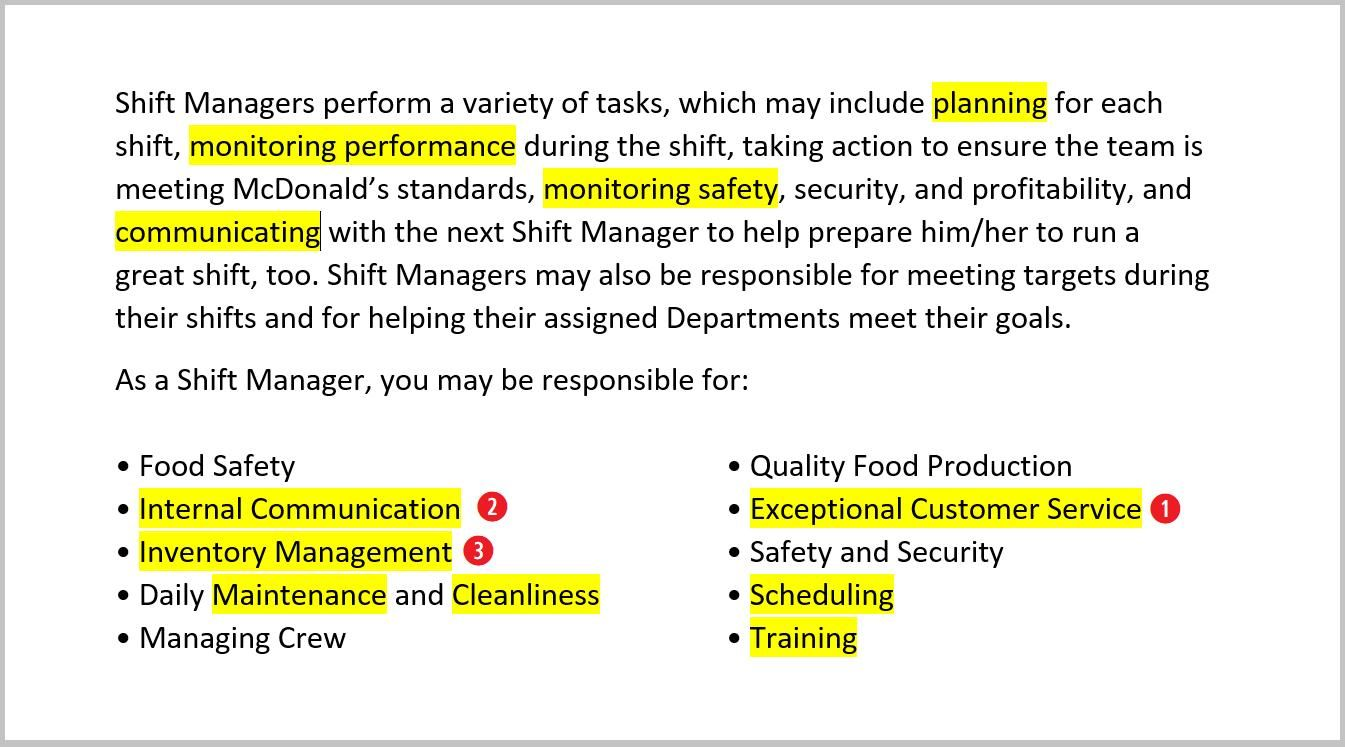 McdonaldS Fast Food Resume Job Description For Shift Managers